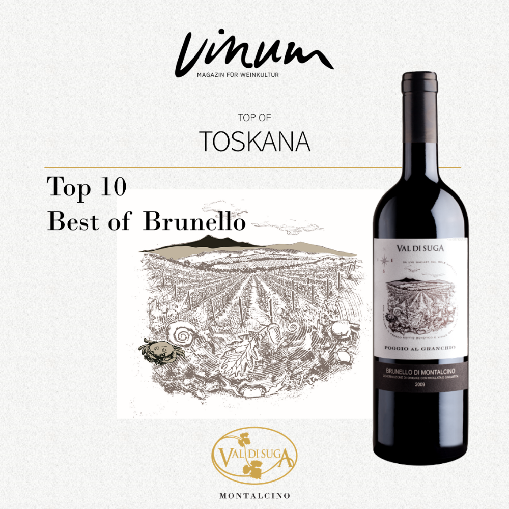 Poggio al Granchio is among the Top 10 in Vinum's selection of the best Brunello di Montalcino 2015.